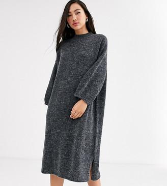 Monki midi knitted dress in dark grey