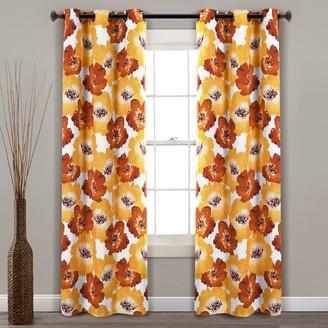 Lush Decor 2-pack Julie Floral Insulated Grommet 100% Blackout Window Curtains