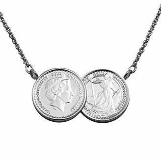 Sparkling Jewellery Women Silver Pendant Necklace of Length 45cm Grand Two Coin Necklace - Silver