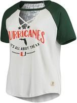 Unbranded Women's Pressbox White/Green Miami Hurricanes Plus Size Abbie Criss-Cross Raglan Choker T-Shirt