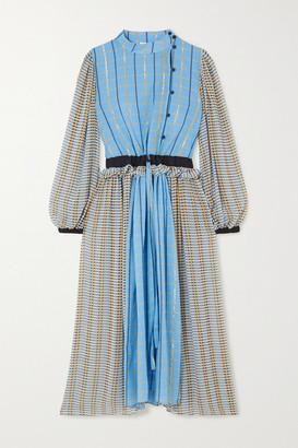 Stine Goya Felisa Ruffled Checked Cotton-blend Poplin Midi Dress - Blue