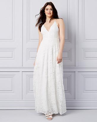 Le Château Lace V-Neck Fit & Flare Gown