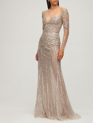 ZUHAIR MURAD Embellished Tulle Gown Dress