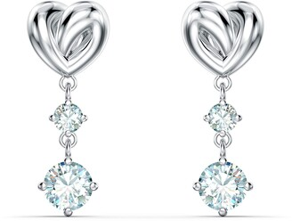 Swarovski Lifelong Heart Pierced Earrings with Sparkling White Crystals and Curved Heart Motif Rhodium Plating Part of the Lifelong Heart Collection