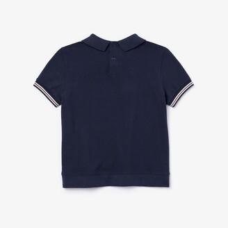 Lacoste Girls' Printed Cotton Pique Polo Shirt