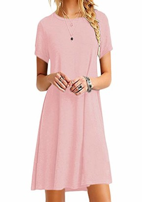 YMING Women Round Neck T-Shirt Mini Dress Solid Color Casual Tunic Tops Loose Fit Swing Dress Sky Blue Dress XXXL