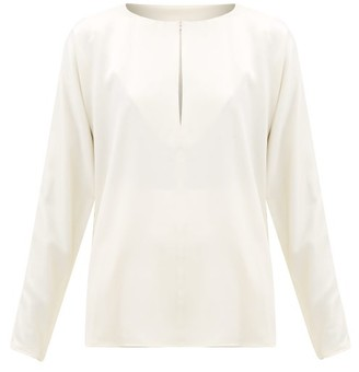 LA COLLECTION Yumi Silk-satin Blouse - Ivory