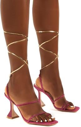 Public Desire Uk Evalyn Glitter Lace Up Detail Mid Height Heels