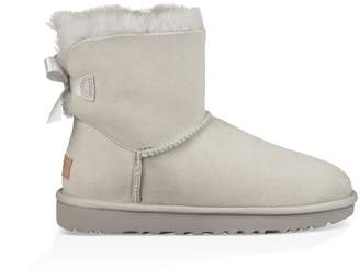 UGG Mini Bailey Bow II Leather Ankle Boots with Sheepskin Lining