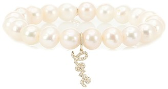 Sydney Evan Love 14kt yellow gold, pearl and diamond bracelet