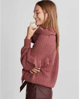 Express oversized ruffle cowl neck sweater