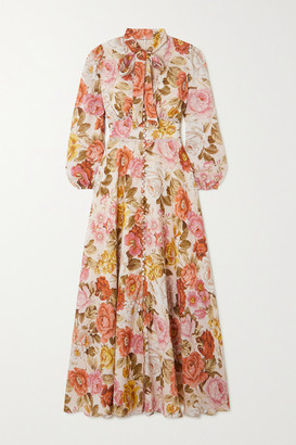 Zimmermann Bonita Crochet-trimmed Floral-print Linen Midi Dress