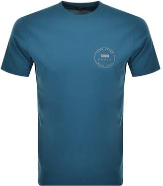 Edwin Crew Neck Trademark Logo T Shirt Blue