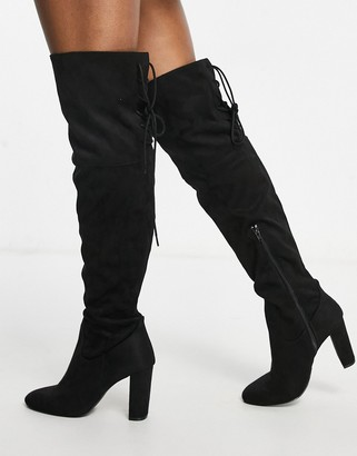 Qupid over the knee boots in black