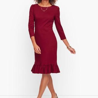 Talbots Flounce Hem Ponte Sheath Dress - Solid