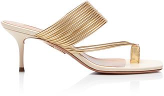 Aquazzura Sunny Ribbed Leather Sandals