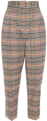 Paul Smith Cropped Pleated Checked Twill Tapered Pants