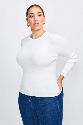 Karen Millen Curve Knitted Rib Long Sleeve Crew Neck Top