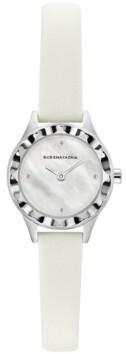 BCBGMAXAZRIA Ladies Round White Genuine Leather Strap Watch, 24mm