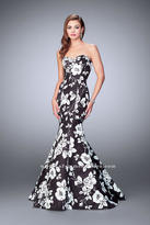 La Femme Black and White Sweetheart Floral Jacquard Mermaid Gown 24023