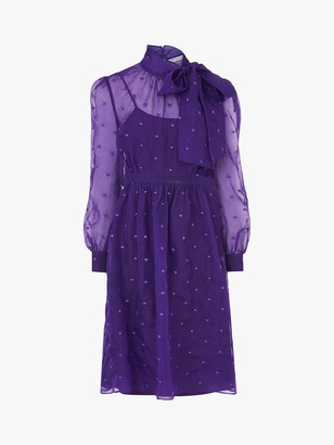LK Bennett Depp Silk Organza Dress, Purple