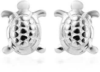 Shop Lc Platinum Over 925 Sterling Silver Turtle Stud Elegant Earrings