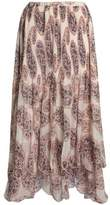 See by Chloe Cutout Printed Plissé-Chiffon Maxi Skirt
