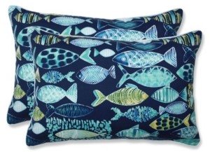 Pillow Perfect Hooked Lagoon Over-Sized Rectangular Throw Pillow, Set of 2