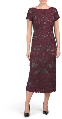 Short Sleeve Soutache Midi Dress
