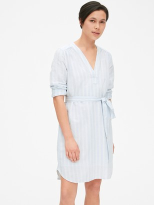 Gap Popover V-Neck Shirtdress in Linen
