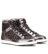 Jimmy Choo Tokyo leather and calf hair high-top sneakers