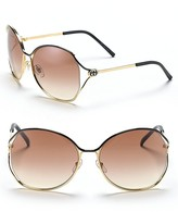 Metal Oversized Sunglasses with GG & #039;s