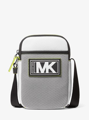 Michael Kors Cooper Pebbled Leather and Mesh Smartphone Crossbody Bag