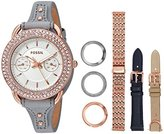 Fossil Women's Quartz Stainless Steel and Leather Casual Watch, Color:Grey (Model: ES4056SET)