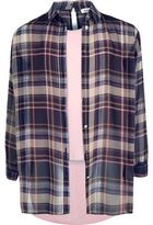 River Island Girls pink check double layer shirt