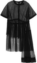 Simone Rocha Asymmetric Broderie Anglaise-trimmed Tulle T-shirt - Black