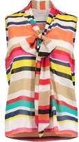 Alice + Olivia Indira Pussy-Bow Striped Silk-Chiffon Blouse