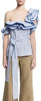 Rosie Assoulin Ruffled Check-Print One-Shoulder Top, Blue