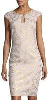 Jax Scroll-Print Keyhole Sheath Dress