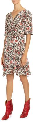 Isabel Marant 1/2-Sleeve Ruched Floral Print Dress