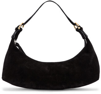 BY FAR Mara Suede Leather Bag in Black | FWRD