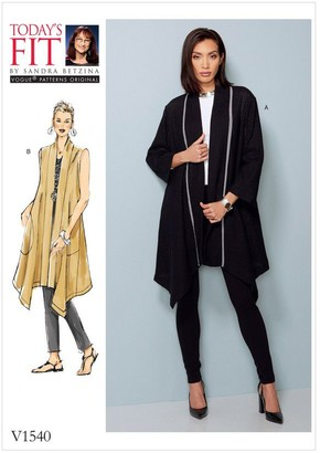 Vogue Women's Coat and Vest Sewing Pattern, 1540