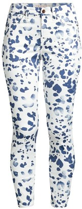 JEN7 by 7 For All Mankind Watercolor Printed Ankle Skinny Jeans