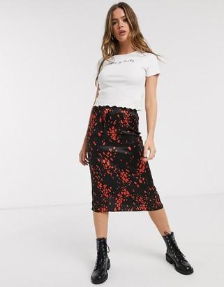 Influence split front midi skirt in multi