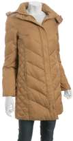 camel quilted hooded long down jacket