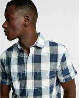 Express soft wash plaid linen-blend short sleeve shirt
