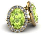 Ice 1 1/8 CT TW Oval-Shaped Peridot 10K Gold Halo Stud Earrings with Diamond Accents