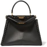 Fendi Peekaboo Medium Whipstitched Leather Tote - Black