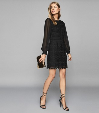 Reiss ARIA LACE DRESS WITH SHEER SLEEVES Black