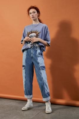 BDG Blaine Colourblock Skate Trousers - Blue 24 at Urban Outfitters